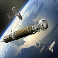 Crewed Mars exploration spacecraft in orbit above Earth image credit James Vaughan SpaceFlight Insider