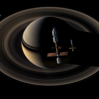 Crewed spacecraft approach the gas giant Saturn. Image Credit James Vaughan SpaceFlight Insider