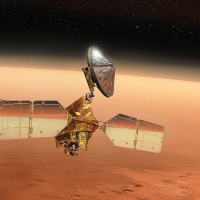 Mars Reconnaissance Orbiter MRO in orbit above the Red Planet. Image CreditL James Vaughan SpaceFlight Insider