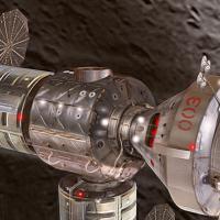 Orbital ATK lunar habitat proposal  in orbit above Moon image credit James Vaughan SpaceFlight Insider - Copy