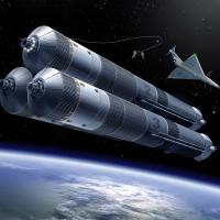 Spacecraft in orbit above Earth.