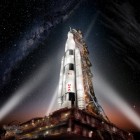 NASA SLS Space Launch System against starfield image credit James Vaughan SpaceFlight Insider