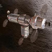 Orbital ATK lunar habitat proposal in orbit above Moon image credit James Vaughan SpaceFlight Insider