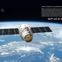 SpaceX Dragon spacecraft approaching the International Space Station