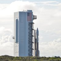 Atlas V and Morelos-3 roll out from the Vertical Integration Facility