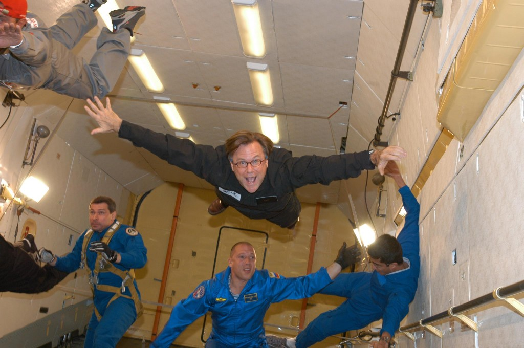 A weightless Jim Clash trains for his Virgin Galactic space flight in an Ilyushin 76 aircraft over Moscow. (Photo: Space Adventures)