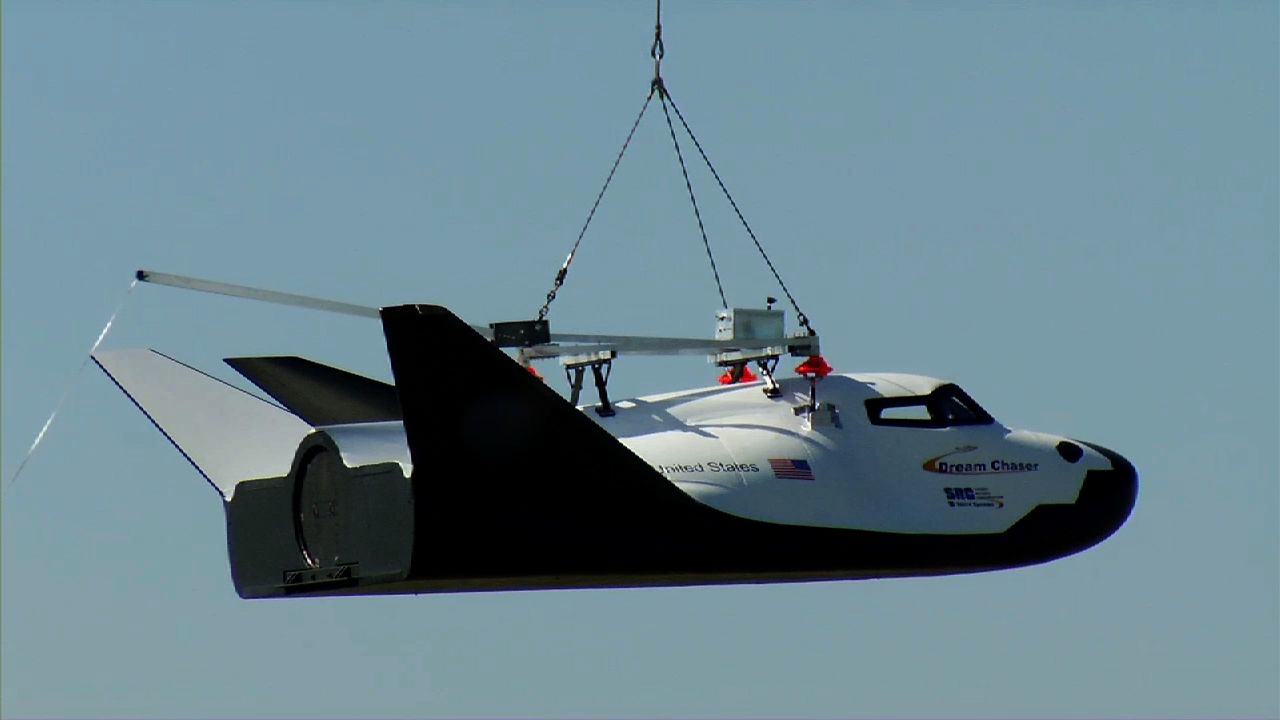 Sierra Nevada Corporation's Dream Chaser space plane conducted a free flight test at 9:45 a.m. PDT which concluded with the test article of the craft flipping over on the runway at Dryden Flight Research Center in California. Photo Credit: SNC / NASA