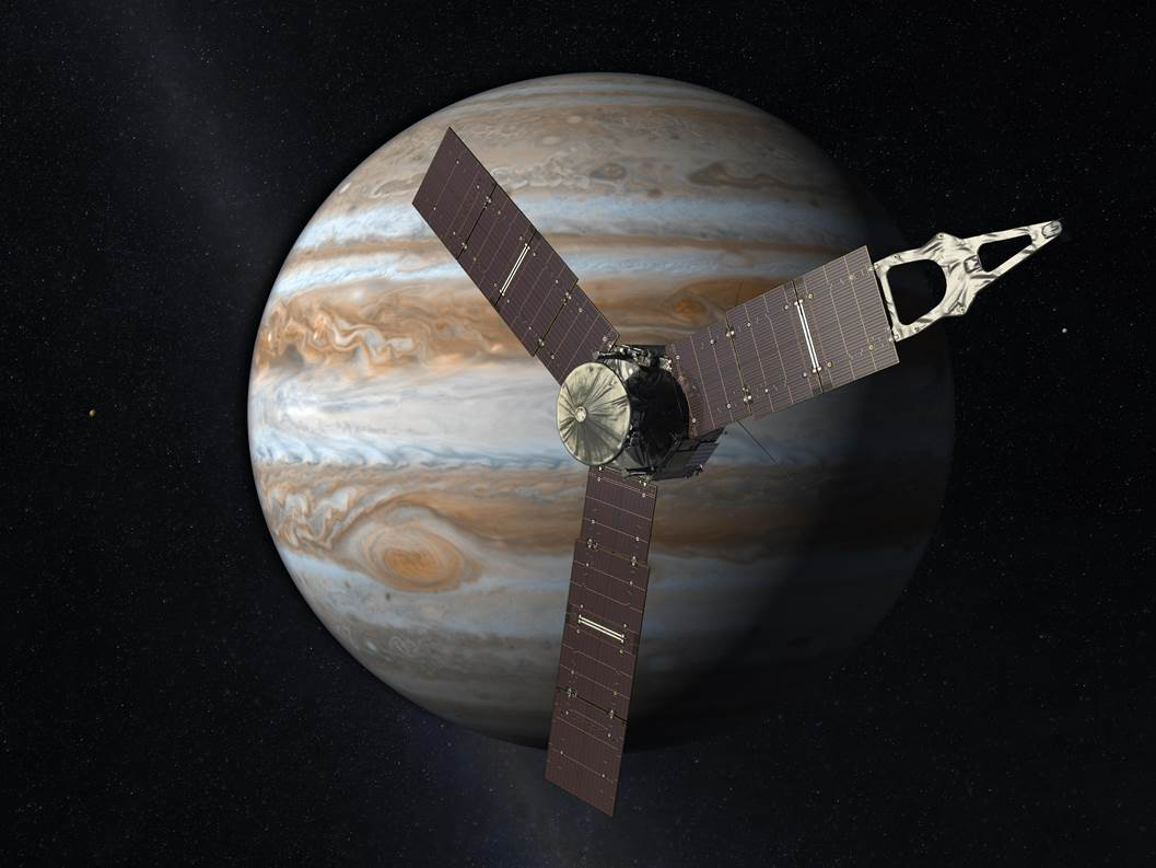 Artist impression of the Juno spacecraft as seen on Spaceflight Insider.