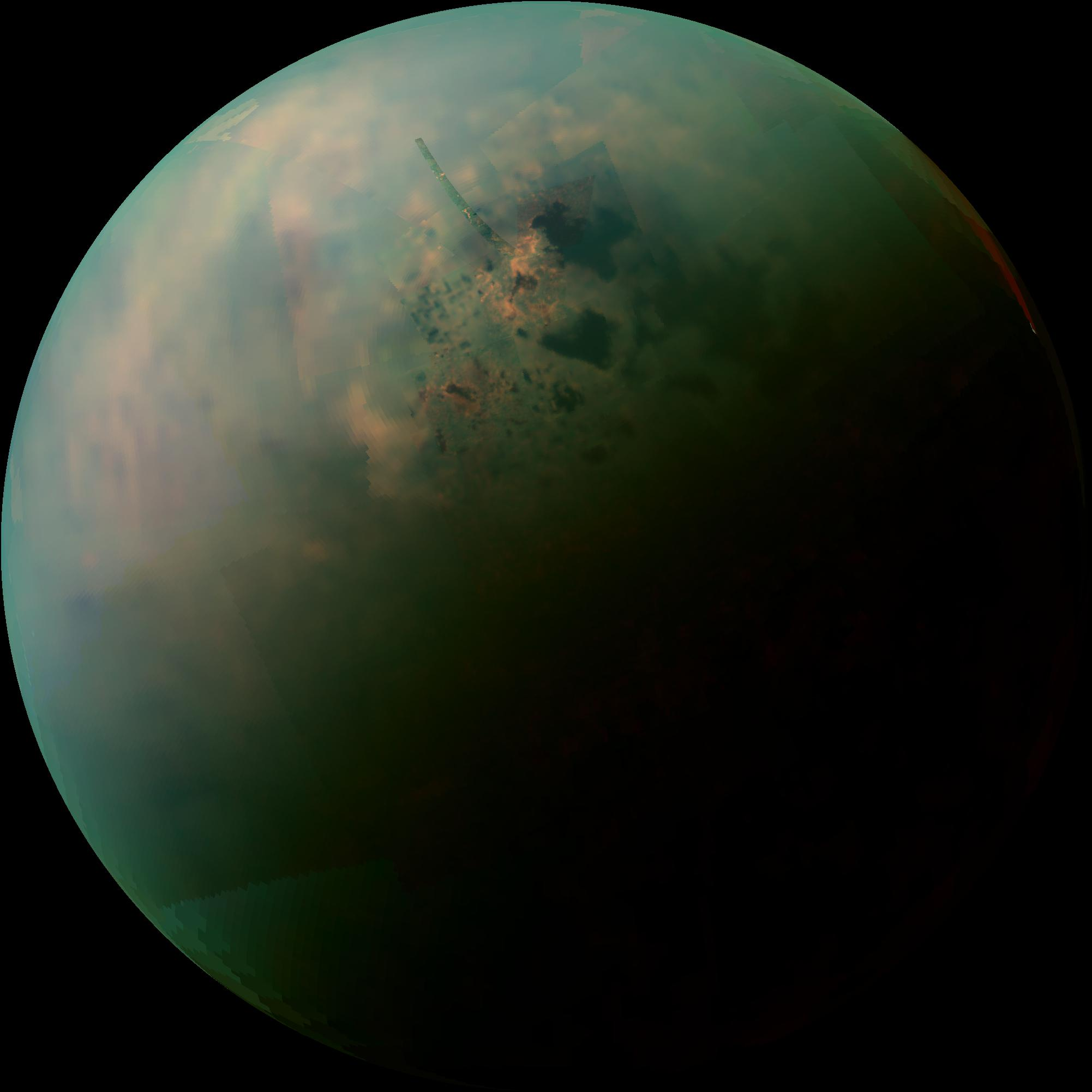 This false-color mosaic, made from infrared data collected by NASA's Cassini spacecraft, reveals the differences in the composition of surface materials around hydrocarbon lakes at Titan, Saturn's largest moon. Image credit: NASA/JPL-Caltech/University of Arizona/University of Idaho