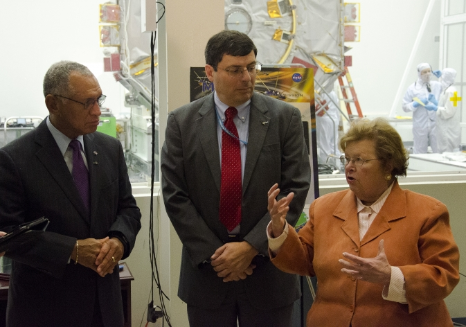 NASA Administrator Charles Bolden, NASA Goddard Flight Center Director Chris Scolese and Maryland Senator Barbara Mikulski talk to reporters during a tour of the NASA Goddard facilities.  Photo credit:  NASA