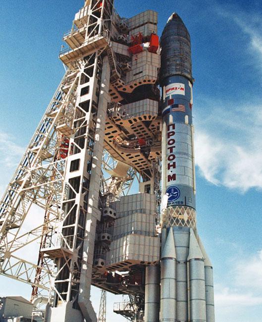A Proton-M rocket on pad 39, Baikonur Cosmodrome.