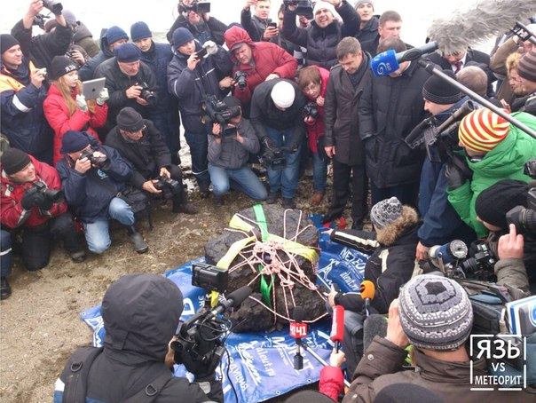 A half-ton chunk of the Chelyabinsk meteorite was raised from  image credit: uralpolit.ru