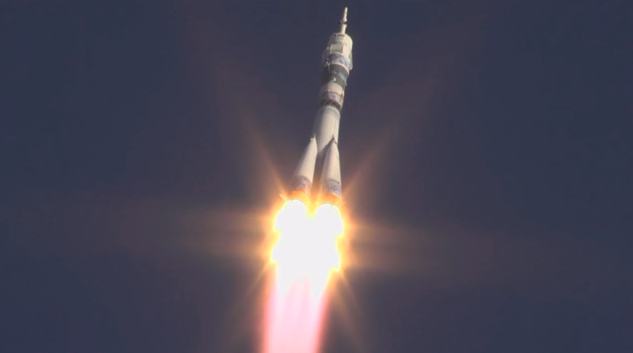 Expedition 38 crew members, Mikhail Tyurin, Rick Mastracchio and Koichi Wakata launched from the Baikonur Cosmodrone in Kazakhstan at 11:14 p.m. EST (Wednesday, 10:14 a.m. Nov. 7, Kazakh time). Photo Credit: NASA TV