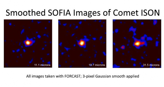 Images of Comet ISON were obtained by SOFIA's FORCAST camera at wavelengths of 11.1, 19.7, and 31.5 microns. Measurements at 31.5 microns, crucial for determining the temperature and other characteristics of the comet's material, cannot be made using ground-based telescopes. Image Credit:  NASA / Diane Wooden