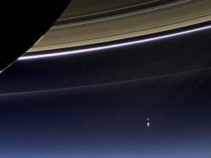 Earth as seen from Saturn, appears as a tiny pale blue dot. Image Credit: NASA/JPL-Caltech/Space Science Institute