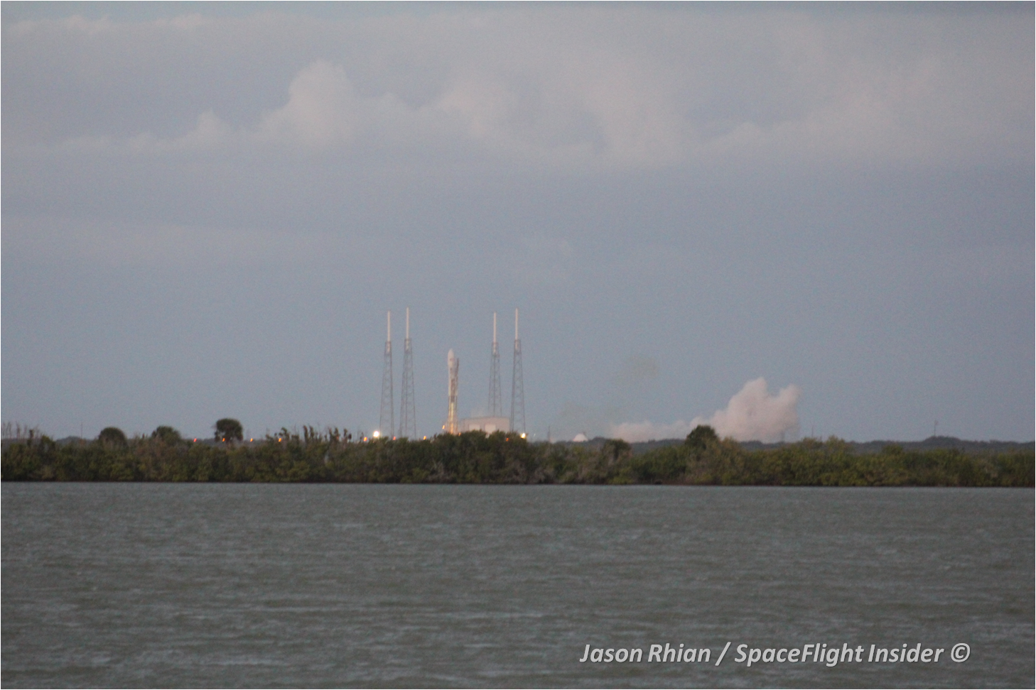 SpaceX almost achieved launch, but two seconds after the first launch attempt at 5:39 p.m. EST - the rocket's onboard computer detected an issue and shut the rocket down. Photo Credit: Jason Rhian / SpaceFlight Insider