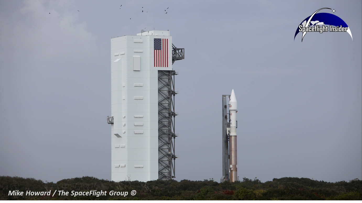 The Atlas V rocket which will send NASA's Mars Atmosphere and Atmosphere EvolutioN (MAVEN) on the first leg of its journey - journeyed to the launch pad at 10 a.m. EST Saturday Nov. 16. Photo Credit: Mike Howard / SpaceFlight Insider