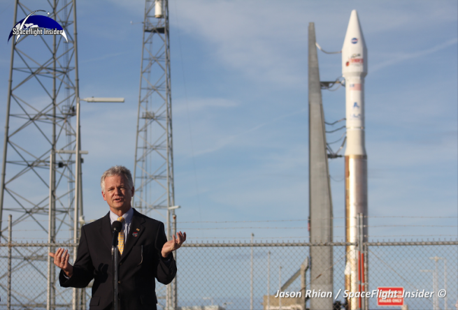 ULA's Jim Sponnick at Space Launch Complex 41 in Florida discussing NASA's MAVEN mission. Photo Credit: Jason Rhian / SpaceFlight Insider