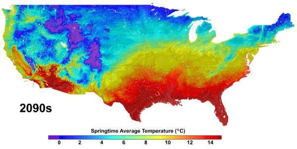 Climate change projections for the United States, such as the data shown in this image of average springtime temperature change from the 1950s to the 2090s, will be available on the cloud through an agreement with Amazon Web Services. This data was produced by the NASA Earth Exchange (NEX), a research platform of the NASA Advanced Supercomputer Facility at the agency's Ames Research Center in Moffett Field, Calif. Photo Credit: NASA