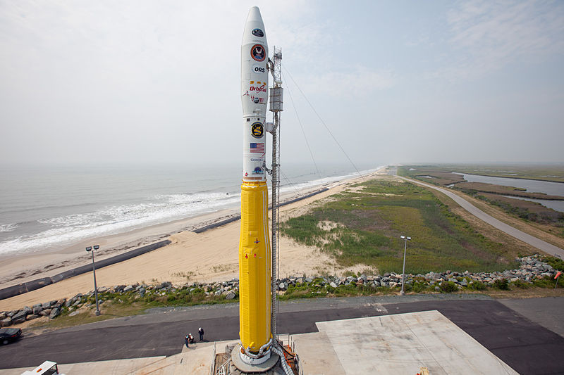 NASA and Orbital Sciences Corporation are poised to launch a Minotaur rocket with its  from the Mid-Atlantic Regional Spaceport's Pad 0B at NASA's Wallops Flight Facility in Virginia. The Minotaur will launch the Air Force's Operationally Responsive Space Office's ORS-3 mission and 28 small cubesat satellites. Photo Credit: NASA / Wallops Flight Facility