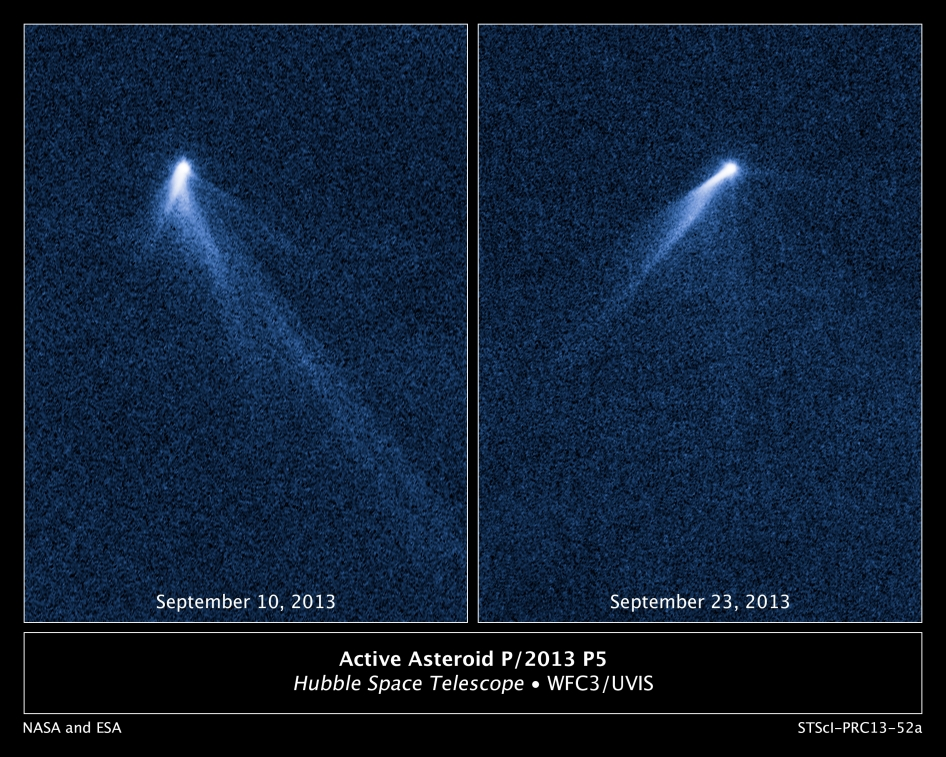 Hubble Space Telescope images of asteroid  P/2013 P5 showing its unusual comet-like tails. Photo Credit: NASA, ESA