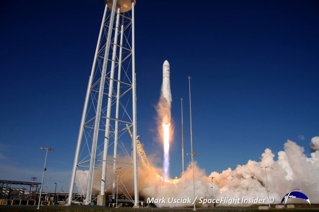 Antares and the Cygnus spacecraft launch to the ISS as part of the COTS Demo. Photo Credit: Mark Usciak / The Spaceflight Group
