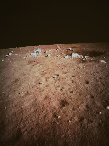 A photograph of the Sinus Iridum landing site, taken by the Chang'e 3 luunar lander, following its successful landing. Photo Credit: Wang Jianmin/XinHua, via Associated Press