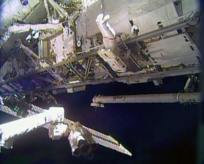 Astronaut Rick Mastracchio works outside the International Space Station to replace a degraded ammonia pump module. Photo Credit: NASA TV