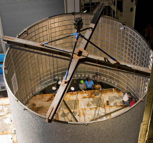 Engineers at NASA's Marshall Space Flight center in Alabama recently tested a fuel tank to see how it handled stresses while being crumpled. Photo Credit: NASA