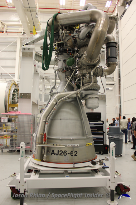 Two Aerojet Rocketdyne AJ-26 engines power Antares first stage. Photo Credit: Jason Rhian / SpaceFlight Insider