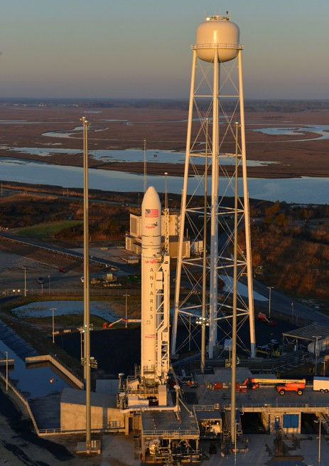 An Aerial view of Orbital Sciences Corporation's Antares rocket on the launch pad at the Mid-Atlantic Regional Spaceport at NASA's Wallops Flight Facility in Virginia. Photo Credit: Orbital Sciences