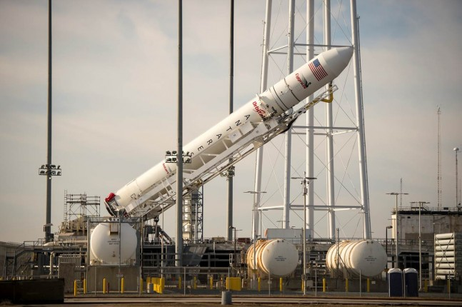 Orbital rolled out the Antares rocket with its Cygnus spacecraft to Pad-0A at Wallops Flight Facility in Virginia earlier today. Launch is currently set for 9:19 p.m. EST on Thursday, Nov. 19. Photo Credit: Bill Ingalls / NASA