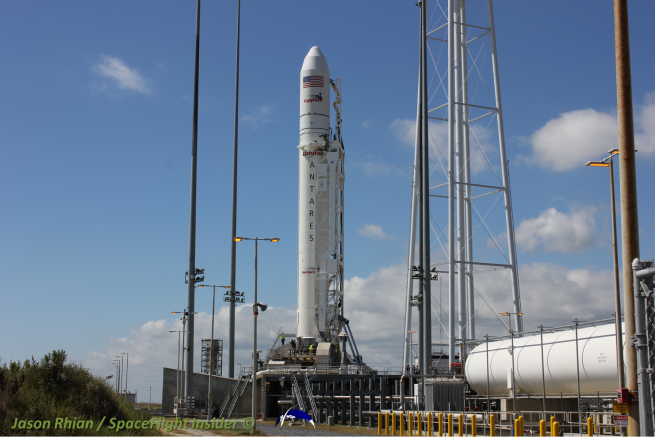 If all goes according to schedule, Antares will roll out to Pad 0A early Tuesday morning. Photo Credit: Jason Rhian / SpaceFlight Insider