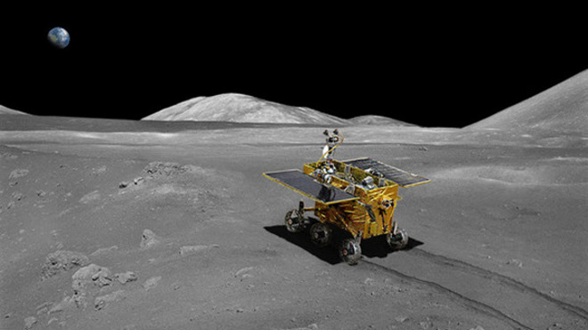 Artist's impression of the Chinese Yutu lander on the Moon's surface.
