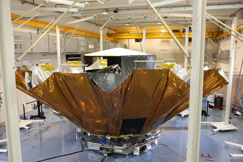 Gaia undergoing a test of the deployment of its sunshield in 2011. Photo Credit: Astrium France