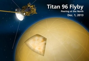 Artist's conception of Cassini's recent flyby of Titan's northern region. Image Credit: NASA/JPL