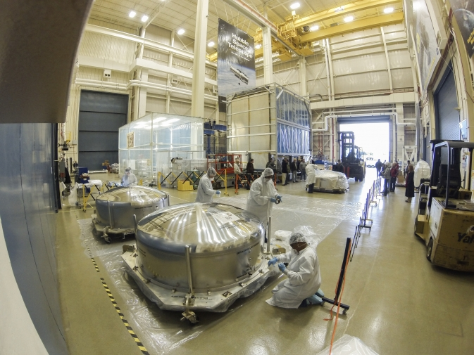The last three of the 18 flight primary mirror segments arrived at NASA's Goddard Space Flight Center in Greenbelt, Md., on Dec. 16, 2013. After traveling across the country, the mirrors were prepped to enter a Goddard clean room for inspections. Image Credit: NASA Goddard/Chris Gunn