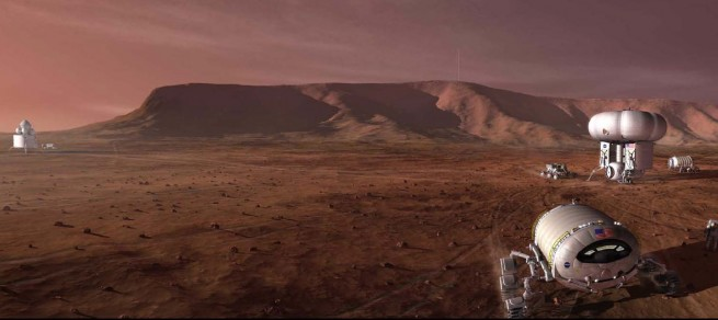 A 2009 concept for a NASA crewed mission and Mars outpost. Image Credit: NASA