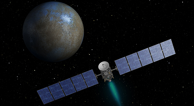 This artist's concept shows NASA's Dawn spacecraft heading toward the dwarf planet Ceres. Dawn spent nearly 14 months orbiting Vesta, the second most massive object in the main asteroid belt between Mars and Jupiter, from 2011 to 2012. It is heading towards Ceres, the largest member of the asteroid belt. When Dawn arrives, it will be the first spacecraft to go into orbit around two destinations in our solar system beyond Earth. Image Credit: NASA/JPL-Caltech