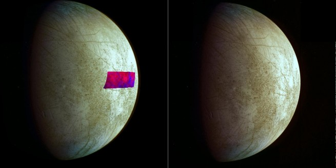 Image showing the location of the clay-type minerals found on Europa's surface. Image Credit: NASA/JPL-Caltech/SETI