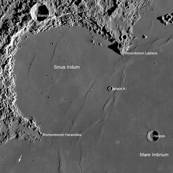 An annotated photograph of Chang'e 3's landing site, taken by NASA's Lunar Reconnaissance Orbiter. The arrow at lower left, shows the location of the Soviet Lunokhod 1 rover. Photo Credit: NASA/GSFC/Arizona State University