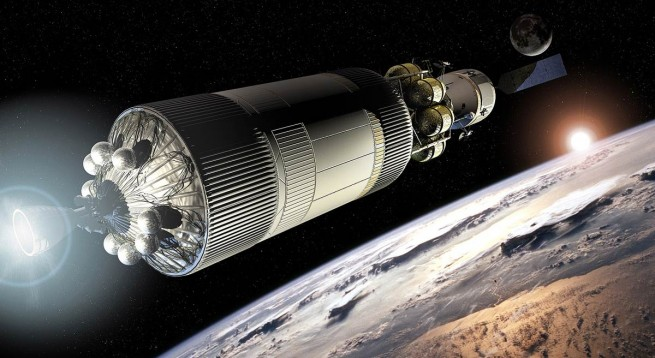 The Earth Departure Stage of a proposed NASA Mars mission, docked to the Crew Exploration Vehicle, Image Credit: NASA