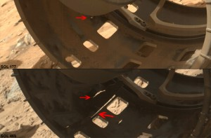 Zoomed-in images of wear on Curiosity's left-front wheel. The top image is from Sol 177 and the bottom image is from Sol 488.