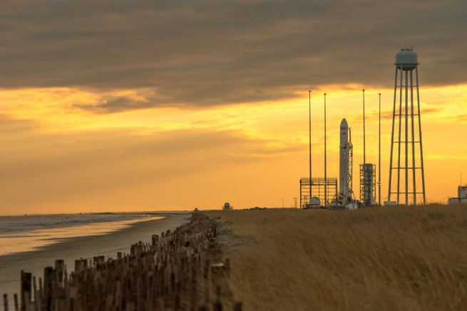 The Orbital Sciences Antares rocket on the pad at Wallops Island, Virginia. Photo Credit: NASA/Bill Ingalls