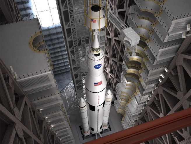 NASA plans to launch the first SLS in 2017. Image Credit: NASA / ATK