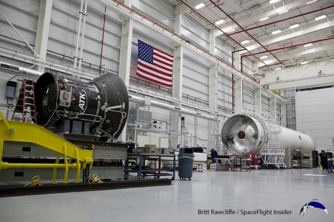ATK's CASTOR 30-B motor alongside the Antares rocket in the Horizontal Integration Facility at Wallops Flight Facility. Photo Credit: Britt Rawcliffe / SpaceFlight Insider