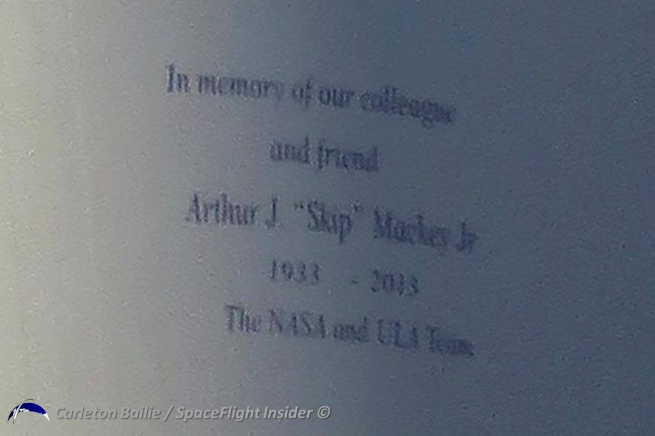 "The launch of TDRS-L was dedicated to the memory of Arthur J. ""Skip"" Mackey Jr. Photo Credit: Carleton Bailie / SpaceFlight Insider"