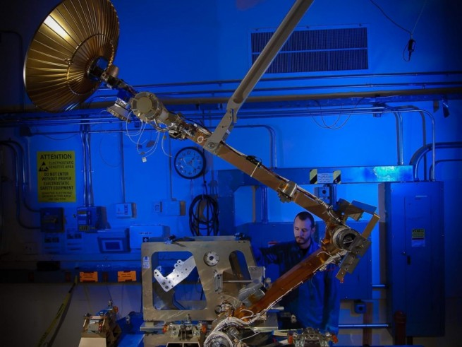 The GPM High Gain Antenna System (HGAS) in integration and testing at Goddard Space Flight Center. Image Credit: NASA