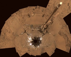 This self-portrait of NASA's Mars Exploration Rover Spirit is a polar projection of the panorama made from images taken by Spirit's panoramic camera (Pancam). Photo Credit: NASA / JPL / Caltech