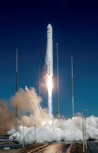 Orbital Sciences Corporation launched the C. Gordon Fullerton (Cygnus) spacecraft on Jan. 9, 2014 from NASA's Wallops Flight Facility in Virginia. Photo Credit: Orbital / NASA